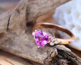 14K Rose Gold Authentic Umbalite Garnet Diamond Engagement Ring GR06
