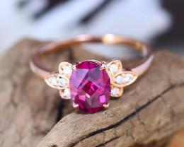 14K Rose Gold Authentic Mahenge Garnet Diamond Engagement Ring GR07