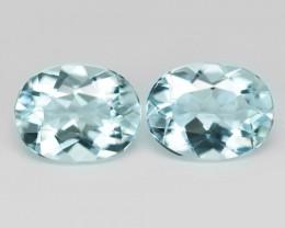 3.09 Cts 2 Pcs Un Heated  Sky Blue Color Natural Aquamarine Loose Gemstone