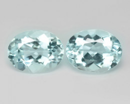3.60 Cts 2 Pcs Un Heated  Sky Blue Color Natural Aquamarine Loose Gemstone