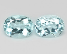 3.44 Cts 2 pcs Un Heated  Sky Blue Color Natural Aquamarine Loose Gemstone