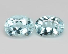 3.34 Cts 2 pcs Un Heated  Sky Blue Color Natural Aquamarine Loose Gemstone