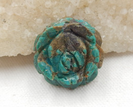 58cts Carved turquoise pendant , natural turquoise, flower pendant  beads H