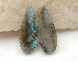 34.5cts Carved Labradorite earrings Pair,Healing Stone G660
