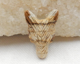 21cts Tiny Hand Carved Wolf Pendant ,Picasso Jasper Wolf ,Wolf Head Pendant