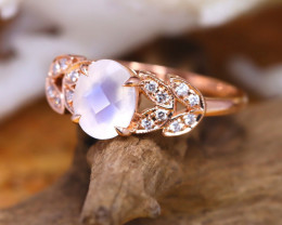 14K Rose Gold Authentic Blue Moonstone Diamond Engagement Ring GR102