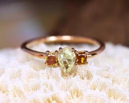 14K Rose Gold Authentic Fancy Diamond 3 Stones Engagement Ring GR09