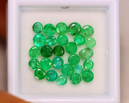 3.67ct Natural Zambia Green Emerald Round Cut Lot E46