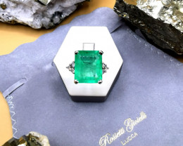 11,19ct Colombian Emerald 18k Solid Gold Ring with Diamonds Ref 1/32