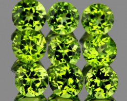 4.50 mm Round 9 pcs 3.55cts Green Peridot [VVS]