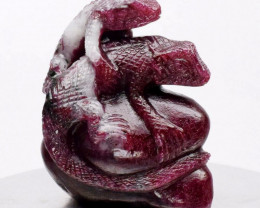 Big Rare 251.66 ct Horny Iguana Carving Natural Unheated Red Ruby, Madagasc