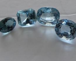 Aquamarine gemstones 4 off