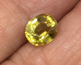 1.14 Carat Sphene Incredible Rainbow Flash Russia Rare !