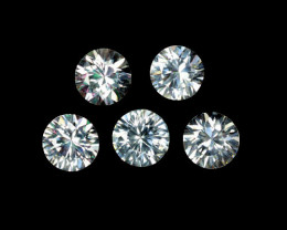 5.64 Cts Natural Sparkling White Zircon 6mm Round Cut 5Pcs Tanzania