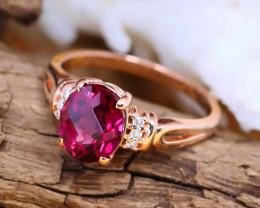 14K Rose Gold Authentic Mahenge Garnet Diamond Engagement Ring GR104
