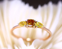 14K Rose Gold Authentic Yellow Champagne Fancy Diamond Engagement Ring GR12