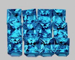 3.30 mm Square Princess 12pcs 2.70cts Swiss Blue Topaz [VVS]