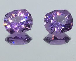7.83 Carat IF Amethyst Master Cut Perfectly Matched Pair 2 for 1 PRICE !