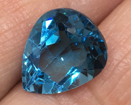 4.72 Carat VS Topaz Electric Blue Custom Pear Spectacular!