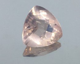 10.65 Carat VVS Rose Quartz Trillion Precision Custom Cut !