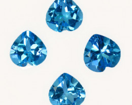~SET~ 5.54 Cts Natural Baby Blue Topaz 7mm Heart Cut 4Pcs Brazil