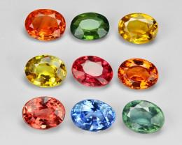 2.31  Carat 9pcs Oval 4x3 mm Fancy Multi Color Sapphire Loose Gemstones
