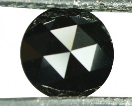 0.68 Cts Natural Coal Black Diamond 6mm Round (Rose Cut) Africa