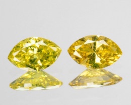 0.26 Cts Natural Diamond Golden Yellow 2Pcs Marquise Cut Africa