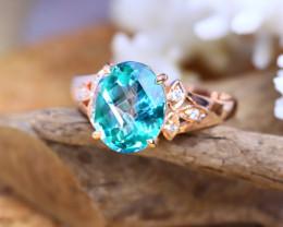 14K Rose Gold Authentic Green Topaz Diamond Engagement Ring GR108