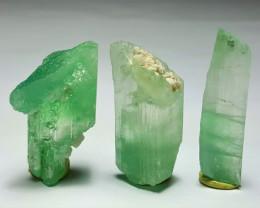 Amazing Damage free Gemmy quality 3 Hiddenite crystals 109Cts-A