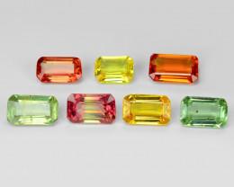 2.29 Carat 7pcs Octagon 4x1 Fancy Multi Color Sapphire Loose Gemstones