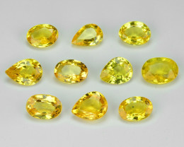 1.81 Carat 10pcs Oval 4x3 Fancy Yellow Color Sapphire Loose Gemstones