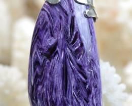 Charoïte 84 carats - pendentif cabochon pierre naturelle - Russie