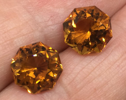 5.63 Carat IF Citrine Master Cut Pair Flawless Quality 2 For 1 Price !