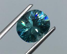 3.00 Carat VVS Zircon Caribbean Blue Custom Cut Spectacular Flash!
