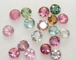 1.58Ct Tourmaline Lot Faceted Round 2.8mm.-(18pcs).-(SKU 231)