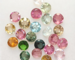 3 Ct Tourmaline Lot Faceted Round  3mm.-(23pcs).-(SKU 233)