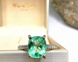 1,83ct Colombian Emerald 18k Solid Gold Ring with Diamonds 46/76