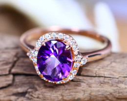 14K Rose Gold Authentic Uruguay Amethyst Diamond Engagement Ring GR116