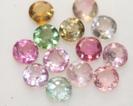 3.08 Ct Tourmaline Lot Faceted Round  4mm.-(13pcs).-(SKU 236)