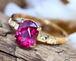 14K Rose Gold Authentic Raspberry Rhodolite Diamond Engagement Ring GR119