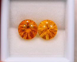 4.61ct Natural Yellow Citrine Round Fancy Cut Lot E77