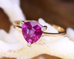 14K Rose Gold Authentic Umbalite Garnet Diamond Engagement Ring GR121