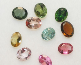 3.4 Ct Tourmaline Lot Faceted Oval 5x4mm.-(10pcs).-(SKU 237)