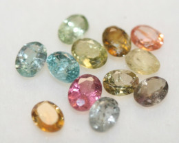 2.05 Ct Tourmaline Lot Faceted Oval 4x3mm.-(12pcs).-(SKU 238)