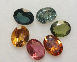 1.93 Ct Tourmaline Lot Faceted Oval 5x4mm.-(6pcs).-(SKU 239)