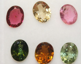 3.4 Ct Tourmaline Lot Faceted Oval 6x5mm.-(6pcs).-(SKU 240)