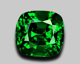 High gem quality custom cushion cut vivid green tsavorite garnet.