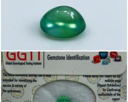 GGTI-Certified-2.20 Ct Green Prehnite Cabochon Natural