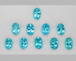 5.26 Cts Un Heated 10 pcs Natural Neon Blue Apatite Loose Gemstone